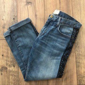 Current/Elliott boyfriend tux lace crop jeans